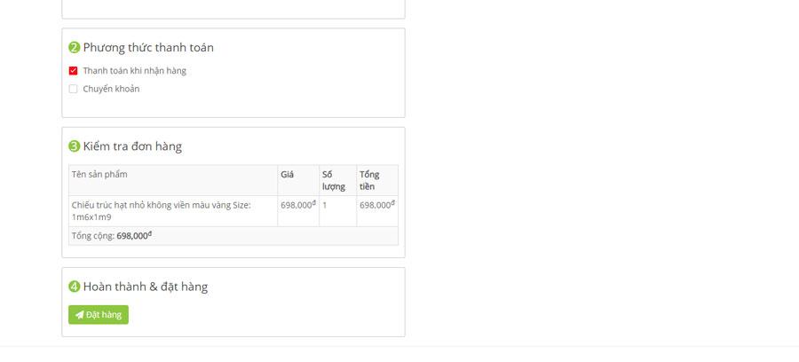 Khách hàng bấm vào nút đặt hàng để gửi yêu cầu mua hàng sau khi đã điền đầy đủ các thông tin giao hàng